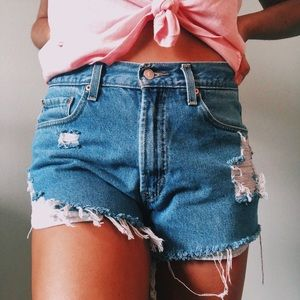 Hand Distressed Levi Jean Shorts